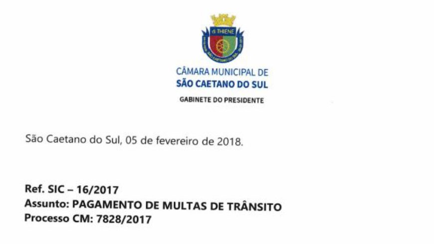Resposta da Câmara Municipal Sobre Multas de Trânsito Depositados em Conta