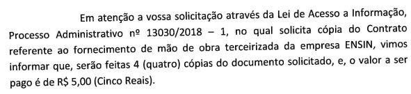 Segunda Resposta da PMSCS sobre Contrato ENSIN