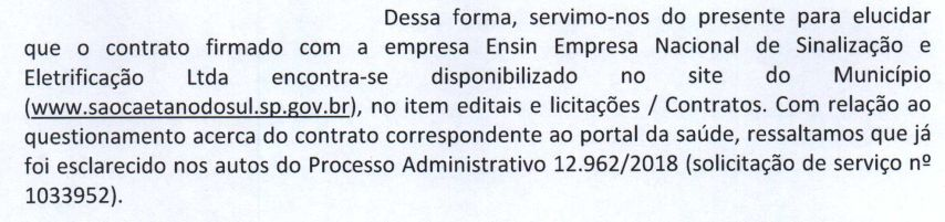 Teceira Resposta da PMSCS sobre Contrato ENSIN