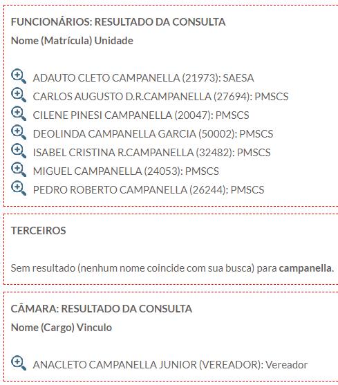 Consulta nome Campanella no site