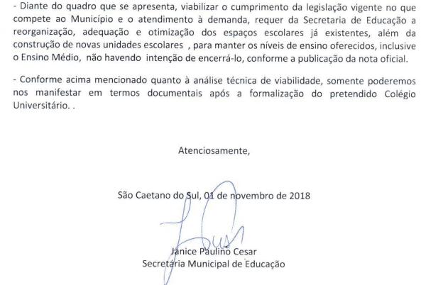 Resposta Prefeitura Municipal de São Caetano do Sul sobre Ensino Médio Oferecido pela USCS
