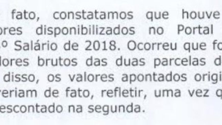Resposta da PMSCS sobre Valor do 13º de 2019