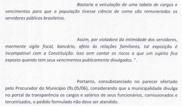 Parte do parecer do Procurador do Município sobre fornecimento de informações sobre empréstimos