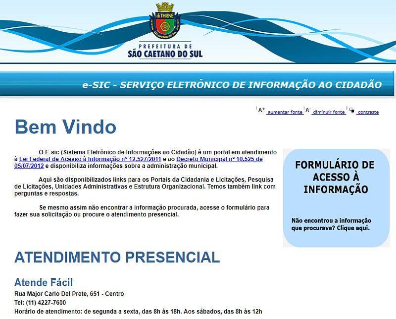 Página e_SIC da Prefeitura Municipal de São Caetano do Sul