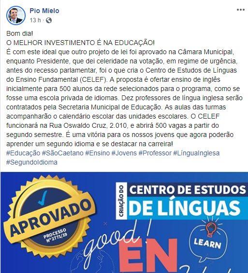 Postagem sobre criação do Centro de Estudos de Línguas do Ensino Fundamental (CELEF)