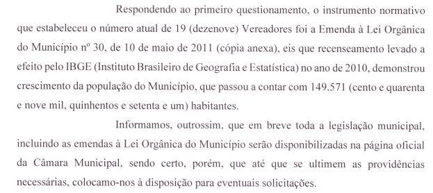 Resposta sobre emenda à lei orgânica que definiu o número de vereadores em 30 de maio de 2011