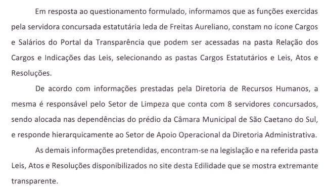 Ofício 36/2019 sobre Ieda de Freitas Aureliano