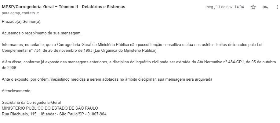 Resposta da Corregedoria-Geral do Ministério Público sobre processo MP nº 14.0674.0000950/2018-8  Câmara Municipal de São Caetano do Sul
