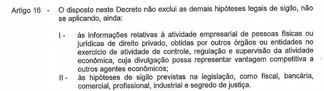 Artigo 15 do decreto 10.525/2012 sobre documentos sigilosos
