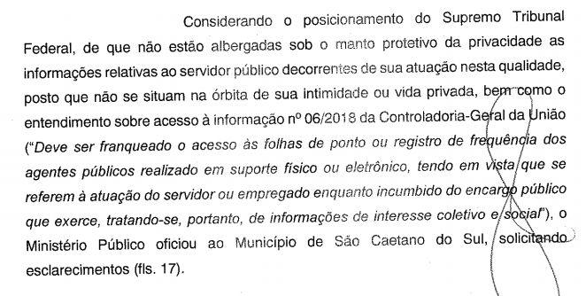 Ofício MP sobre processo de recusa fornecimento de apontamento de horas