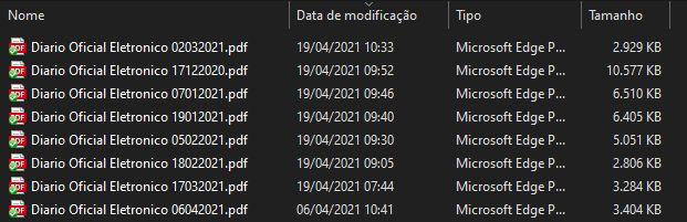 Lista dos nomes dos arquivos do Diário Oficial processados em 04/2021