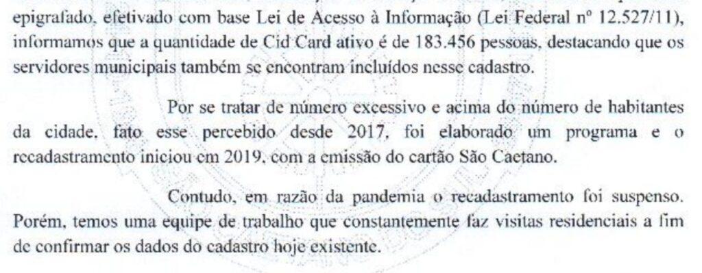 Ofício SESAUD nº 232/2021 de 20/04/2021 sobre quantidade de CIDCARDs ativos