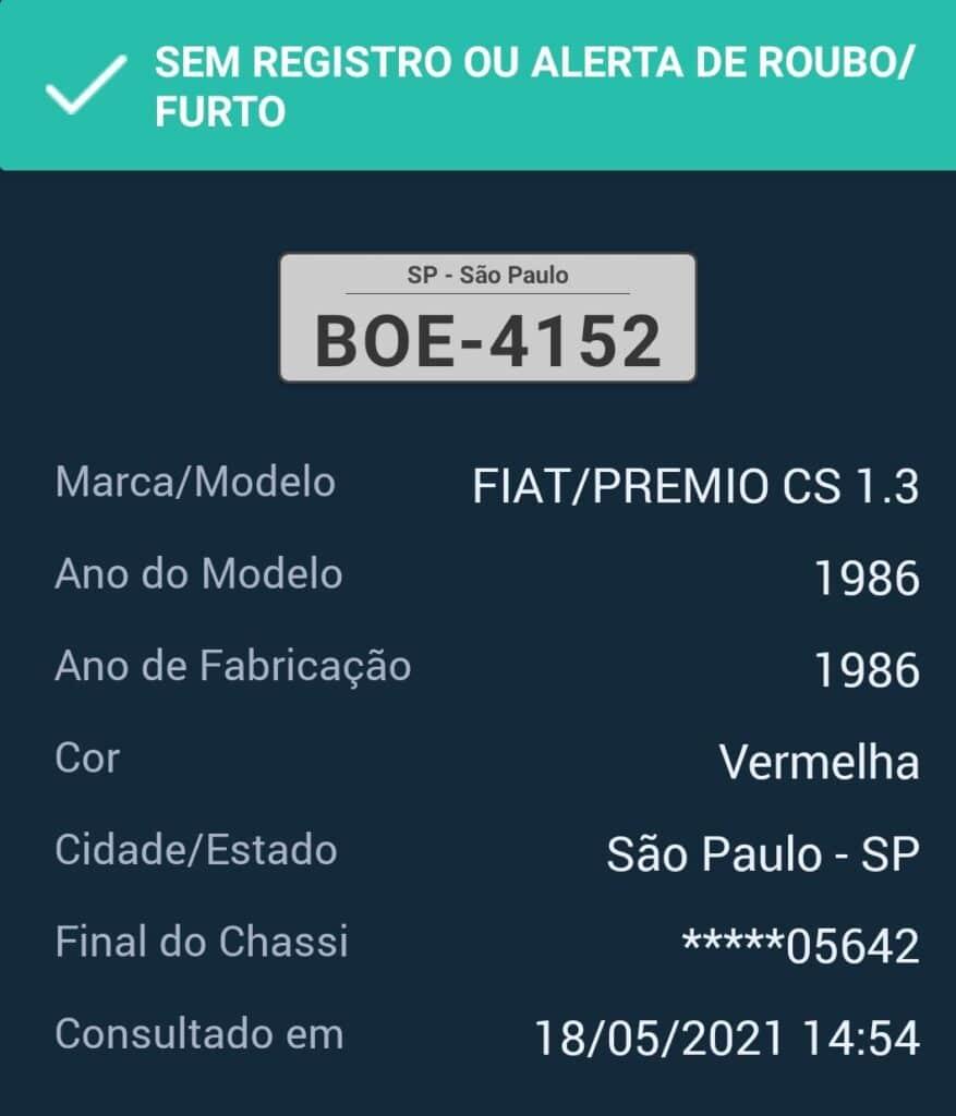 BOE 4152 dados do veículo